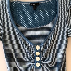 FANG Tops - FANG: deep baby blue and white striped top size M